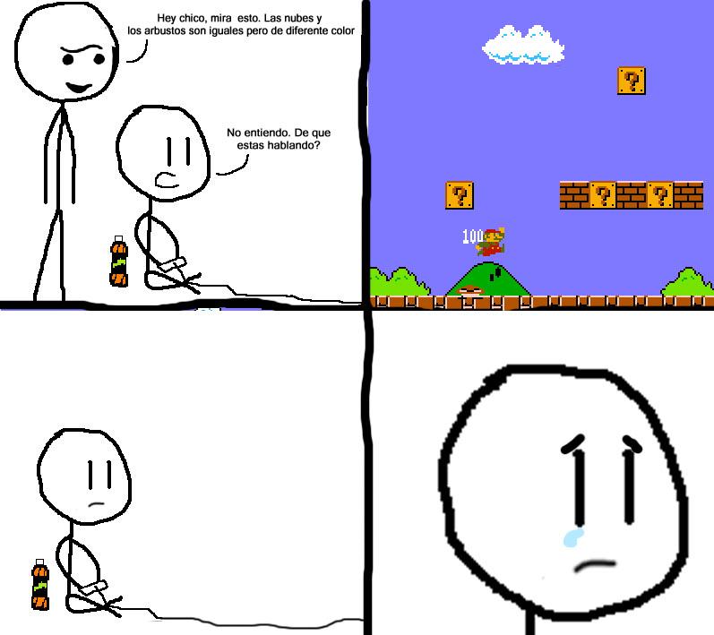 Un meme sobre mario bros donde uno le dice a otro que las nubes y los arbustos de mario bros son iguales pero de diferente color