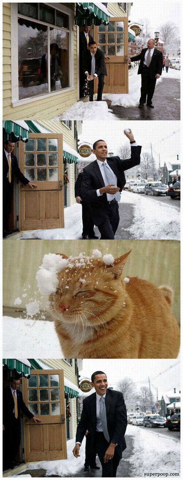 Obama haciendo bolitas de nieve para tirarle a un gato