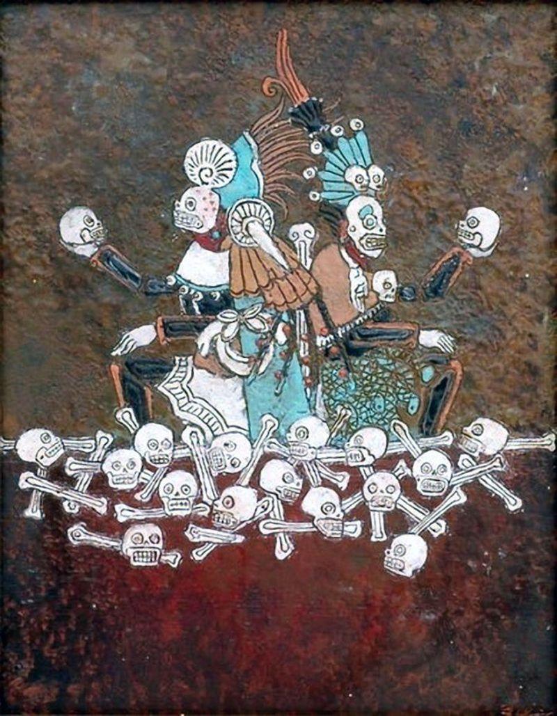 Dos Aztecas sentados en  huesos y calaveras