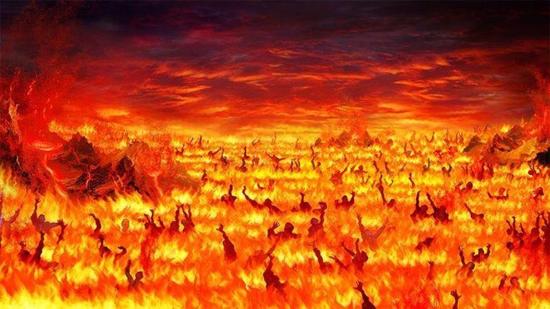 Panorama con lago de fuego y personas sufriendo