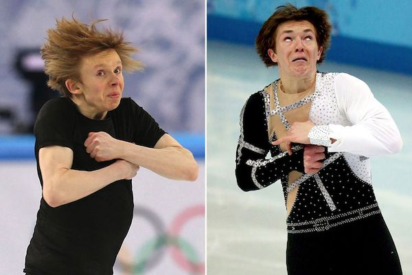 Vemos dos personas patinan personas patinando con caras de miedo en dos expreciones diferentes