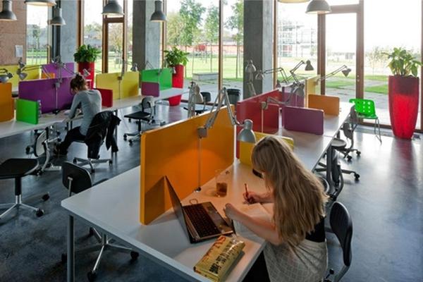 Vemos pequeños cubículos de colores donde hay personas trabajando en sus computadores y vemos lamparas y tambien grandes vidrieras que dan a zonas verdes