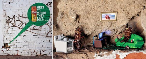 Miramos una pared de ladrillo con un agujero y en la otra parte observamos unas cucarachas viviendo  normalmente y tambien hay una publicidad donde dice llegar donde ellas viven para matarlas con el plagicida